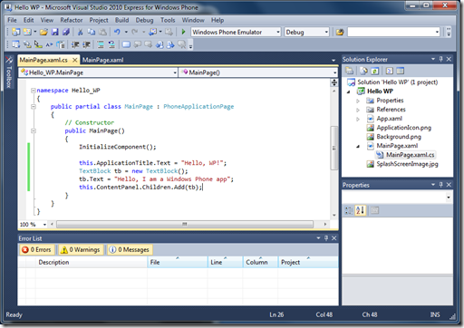 Visual Studio 2010 With my app